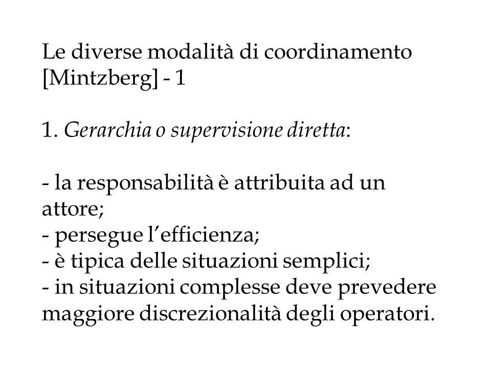 Le diverse modalità di coordinamento [Mintzberg] - 1 1